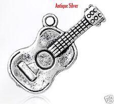 5 x Tibetan Silver Guitar Charm Pendant