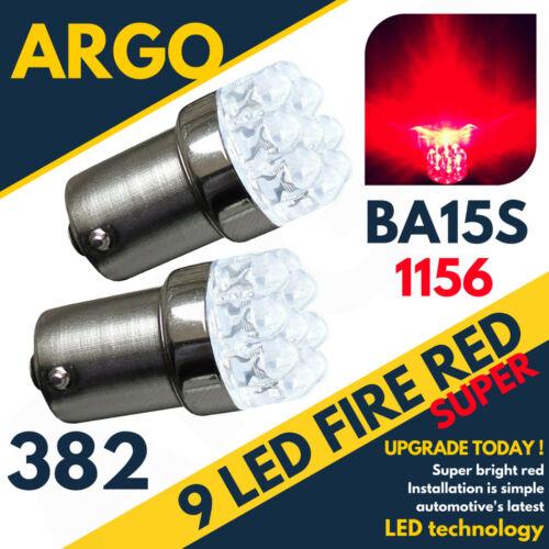 2 x RED 9 LED 382 BA15S 1156 P21W 12V STOP BRAKE FOG LIGHT BULBSBRIGHTXENON