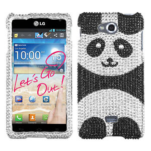 new products 9d355 6fc97 Details about For MetroPCS LG Spirit 4G Crystal Diamond BLING Hard Case  Phone Cover Panda