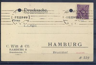 Deutsches Reich 224 Ef Auf Postkarte (508)