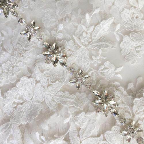 Rhinestone Diamante Flowers Chain Trim Wedding Dress Belt Bridal Bead Applique