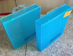 2 OEM Nintendo NES SNES Blue Plastic Clamshell Video Game Hard Case Hangtab LOT