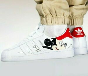 Adidas-Superstar-X-Mickey-Mouse-Nube-Blanco-Core-Negro-tamanos-6-14UK-FW2901