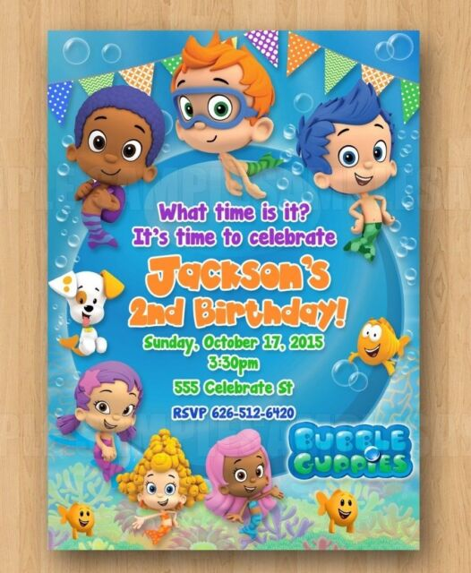 10 Baby Bubble Guppies Birthday Invitation With Envelopes 1st 2nd 3rd 4th Boy