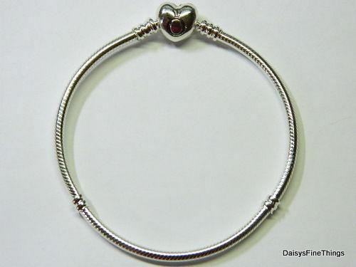 NEW/TAGS AUTHENTIC PANDORA SILVER BRACELET HEART CLASP #590719 MULTIPLE SIZES