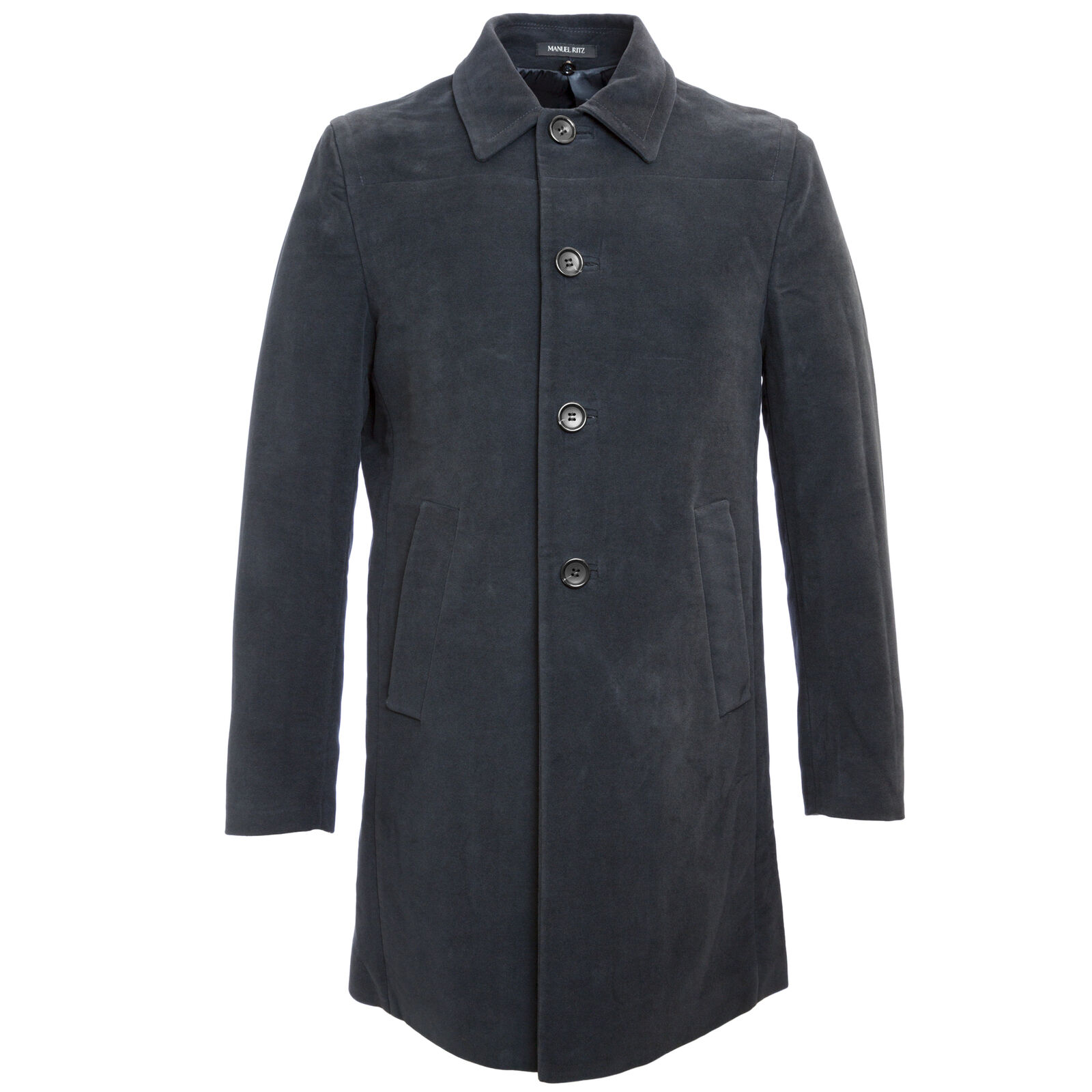 MANUEL RITZ Navy bluee Single Breasted Cotton Peacoat 113C4438  NWT