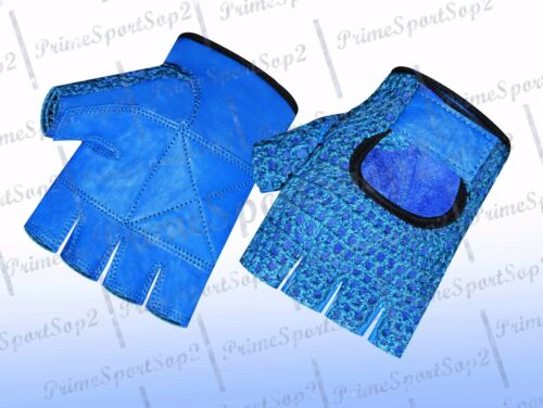WEIGHT LIFTING MESH REAL LEATHER GYM TRAINING FITNESS DRIVING WHEELCHAIR GLOVE/'S