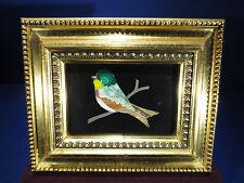 Vintage Pietra Dura Small Bird Plaque on Florentine Gilt Wood Frame