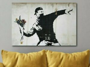 BANKSY-Flower-Thrower-Canvas-Wall-Art-Print-Various-Sizes