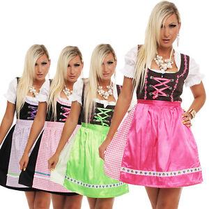 4211-Dirndl-3-tlg-Trachtenkleid-Kleid-Bluse-Schuerze-Oktoberfest-4-Farben-4-Gr