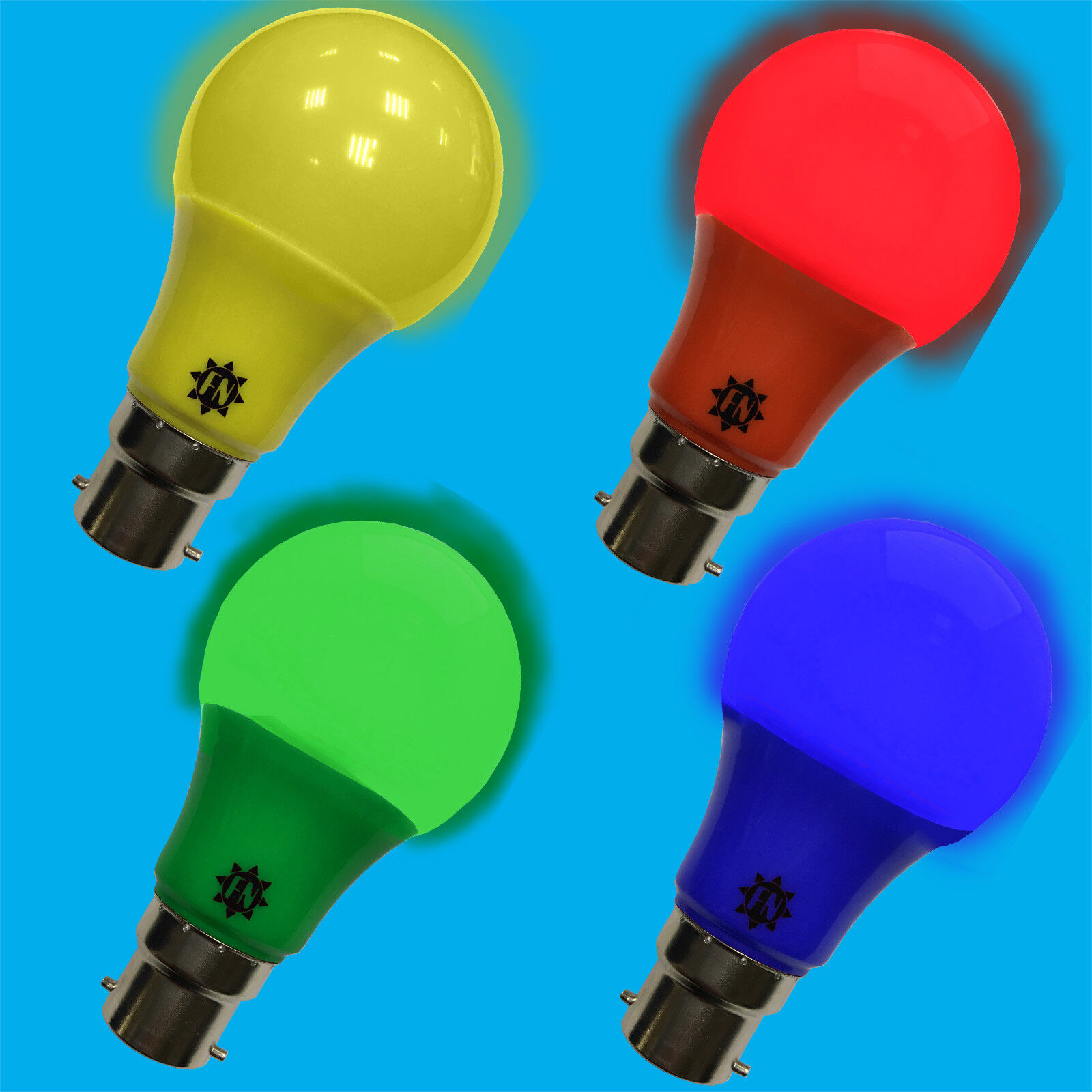 6x 6w LED Coloured Lamp GLS B22 Light Bulb Choose Between Red Yellow Green bluee