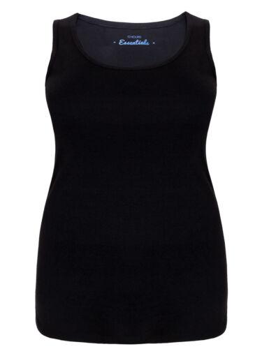 26//28 22//24 Yours Plus Size Curve Black Pure Cotton Ribbed Vest 16 18 30//32