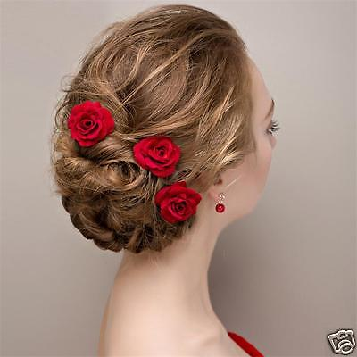 Rose Wedding Bridal Brides made Hair Pins Clips Headpiece Red Hair Accessories!!