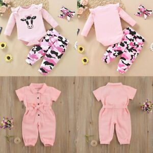 Baby Girls Romper Cow Jumpsuit Toddler Tops Shirt Pants Set Outfits Clothes 2PCS