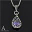 Amethyst Sterling Silver Marcasite Set Necklace Pendant Valentine/'s Day Gift Her