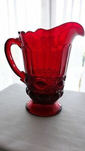 Mosser-Glass-Ruby-Red-Eye-Winker-Pitcher