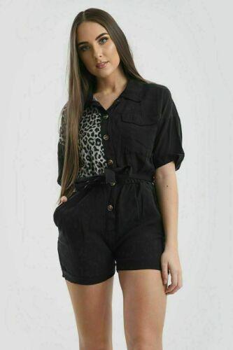 New Women Denim Leopard Print Jumpsuit Ladies Collared Button Up Belted Playsuit