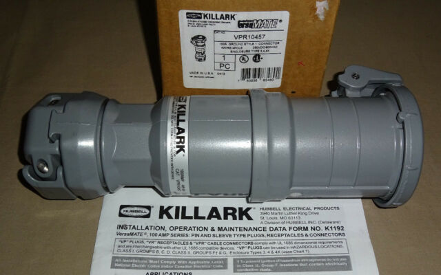 Killark Pin & Sleeve VPR10457 Connector 100a 4w4p Hubbell on