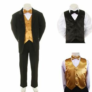 0f747719455e New Baby Boy Formal Wedding Party Black Suit Tuxedo + Gold Vest Bow ...