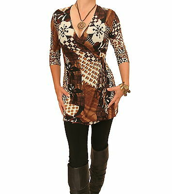 New Printed Tunic Long Wrap Top