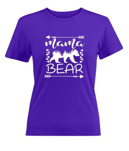 Mama Bear Crew Neck Womens Junior Girls Tee T-Shirt Cotton Short Sleeve T Shirts