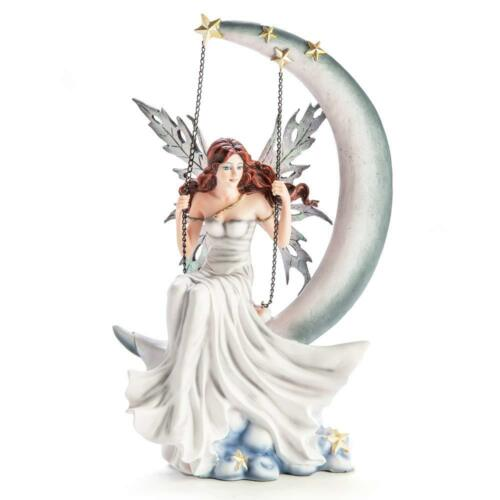 Mystic Worlds Mystic Worlds Winter Moon Fairy Statue Snowflake Wings Sprinkled