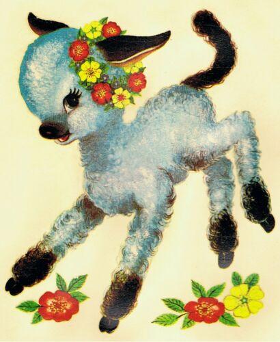 1 Cute Lamb Original Vintage Nursery Decoration Transfer Decal Unique Small