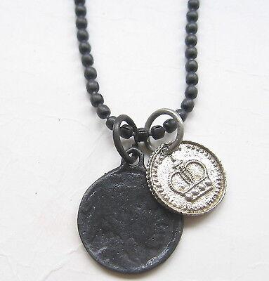 GroßZüGig Münze Herren Schwarz Halskette Kette Kugelkette Collar Necklace Kette Neu Men Angenehm Zu Schmecken