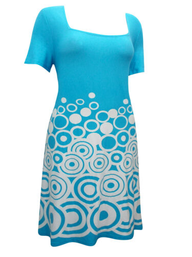 Ladies Sheego Blue /& White Circle Border Print Shift Shortsleeve Dress UK16-24