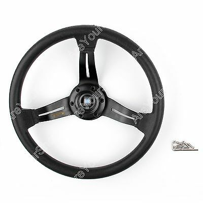 Universal 350mm/14inch Car Steering Wheel PU Leather Sport F1 Auto Black D