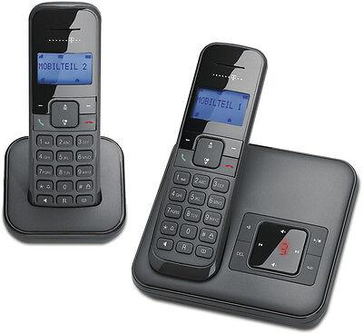 T-Sinus CA34+1 Schwarz Schnurloses Telefon 2 Mobilteilen Anrufbeantworter Schnur