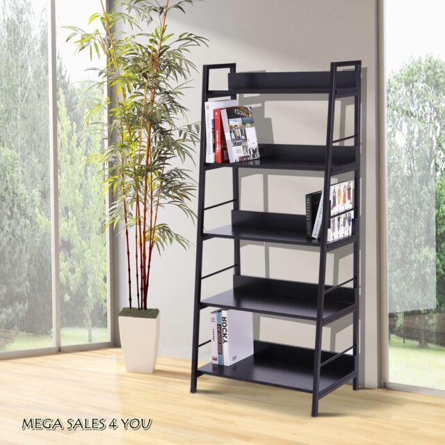 modern 5 shelves bookcase wood metal frame storage display unit rh ebay co uk office furniture shelves with doors office furniture bookshelves