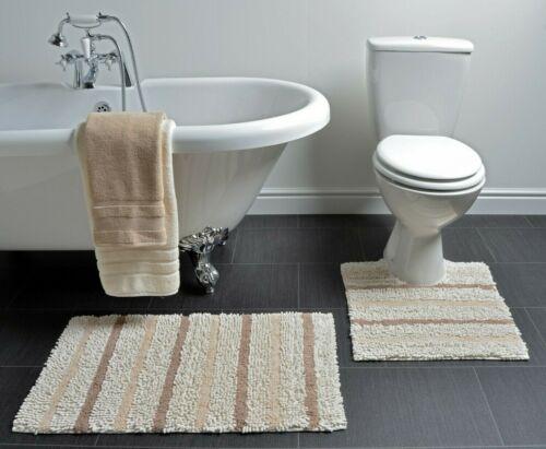 Allure 100/% algodón textura Suave Baño Y Pedestal Mat raya chenilla 2pc Set