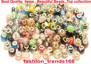 50pcs-mixed-925-Sterling-Silver-Murano-Glass-Beads-Charm-fit-European-Bracelet