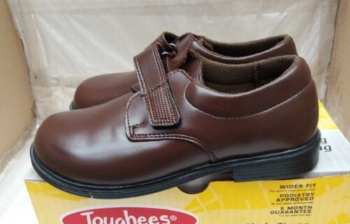 "Toughees /""Class/""  Boys Leather Easy Fastening Strap School Shoes Brown"