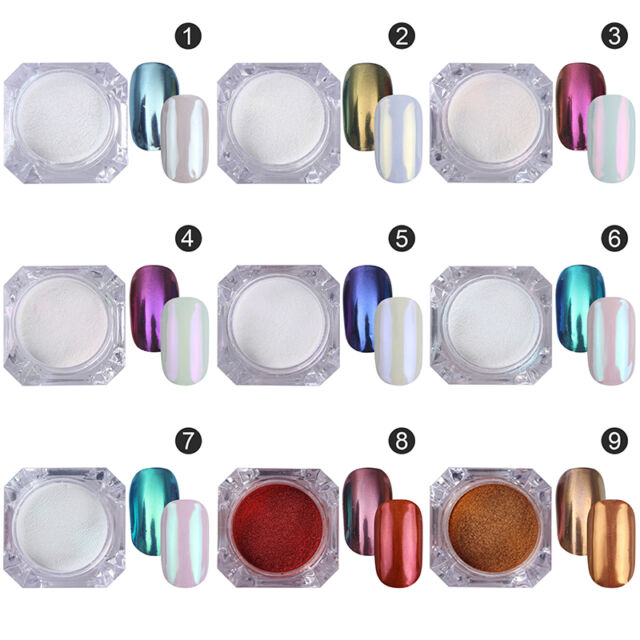 9colors Mirror Powder Glitter Stickers Nail Art Chrome Pigment DIY BORN PRETTY