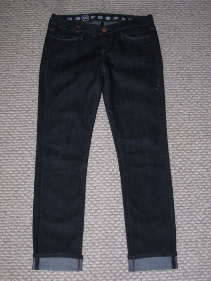 ERNEST SEWN DARK WASH SKINNY CROPPED 26 ROLL UP ANKLE JEANS EUC