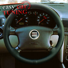 FOR SEAT ALHAMBRA 1996-2010 BLACK REAL GENUINE LEATHER STEERING WHEEL COVER NEW