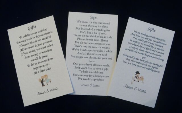50 Wedding Gift Poem Cards Asking For Money Cash Cheques Choice X 3