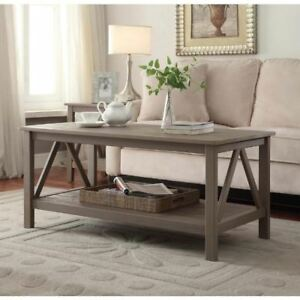 Details About Large Wooden Coffee Table Solid Wood Rectangle Modern Rustic Storage Shelf Side