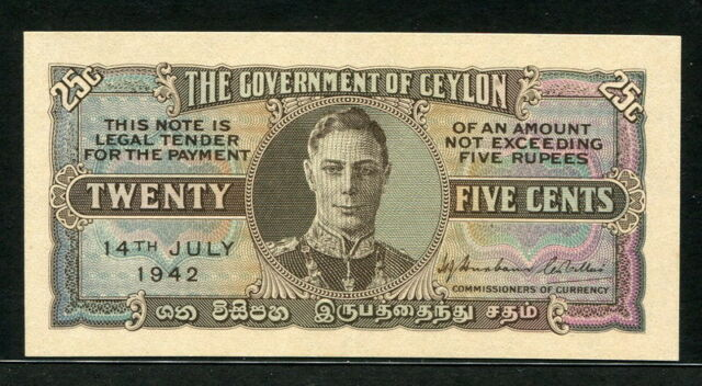 Ceylon 1942, 25 Cents, P44a, XF