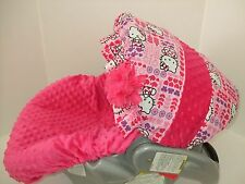 Hello Kitty canopy & hot pink minky infant car seat cover/Graco&custom size