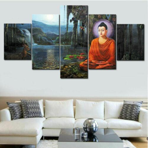 Meditation Buddha Painting Peaceful Poster Wall Art Home Decor 5pcs Canvas Print