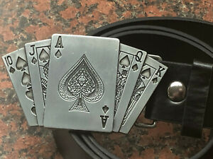 Royal-Flush-Cards-Buckle-FREE-BELT-poker-gambling-card-game-ACE-of-SPADES-new