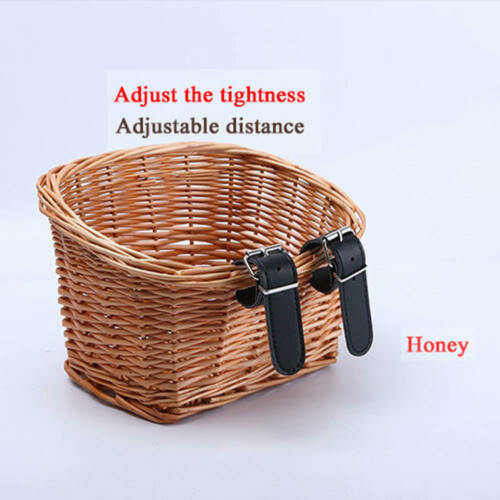 Handmade Wicker Bicycle Front Basket with Leather Straps Rattan Handlebar Bag