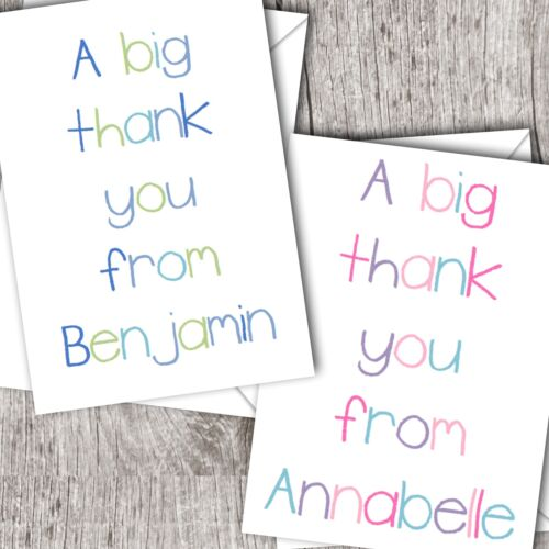 Personalised Girl//Children/'s//Kids ~ Folded THANK YOU Cards ~ Crayon