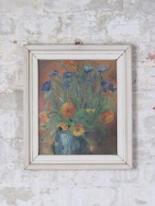 60er-70er-Jahre-Olbild-Bild-Mid-Century-Design-Vintage-Blumen-Rahmen-60s-70s