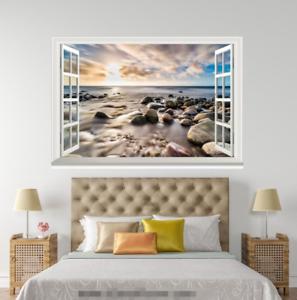 3D Sunlight Stone Lake 008 Open Windows WallPaper Murals Wall Print AJ Jenny