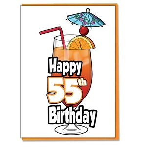 Image Is Loading Cocktail 55th Birthday Card Ladies Mens Daughter Son