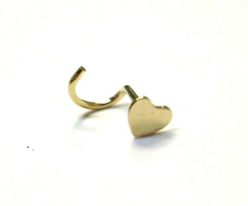 3mm Solid 10K Yellow Gold Heart Nose Screw Stud 20G Gauge